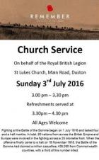 Battle of the Somme Centenary Service, St Lukes Church, 3rd July 2016